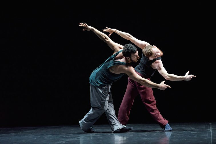DUO2015 ; Life in Progress ; Brigel Gjoka ; Riley Watts ; Choreographer William Forsythe ; Composer Thom Willems ; Stage, Lighting and Costumes by William Forsythe ; Sadler's Wells, London, UK ; 31 March 2015 ; Credit: Bill Cooper / ArenaPAL ; www.arenapal.com